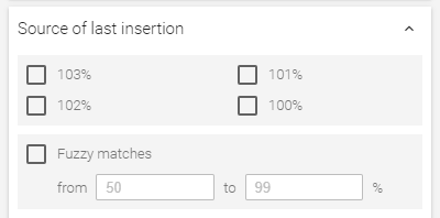 Filtering by fuzzy matches & 103%